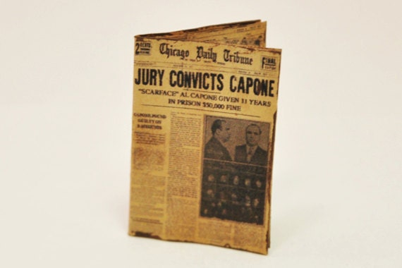 Al Capone Newspaper 1-inch scale Dollhouse Miniature