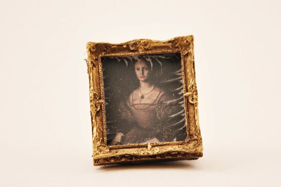 Elizabeth Bathory Framed Photograph 1-inch scale Dollhouse Miniature