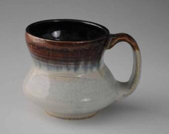 Glossy Brown, Blue, White Coffee Mug, No. 2