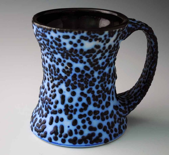 Coffee Mug, Unique Blue and White Raised Glaze