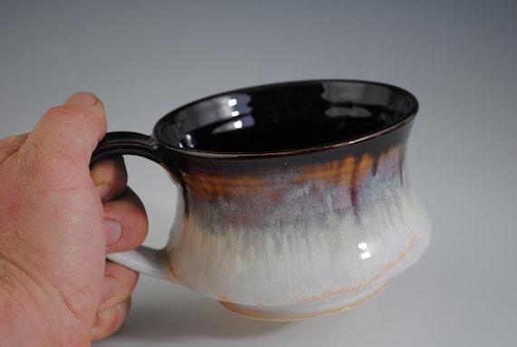 Big Streaky Glazed Brown, Blue, White Mug or Bowl with Handle