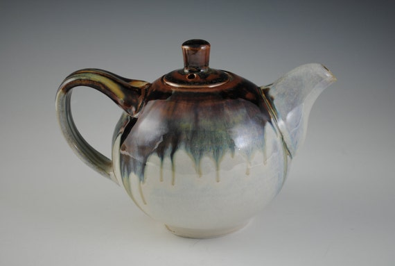 Ceramic Teapot, White, Blue,Brown