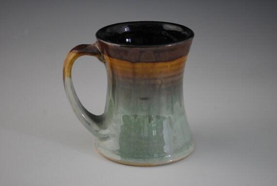 Nice Teal and Amber Brown Porcelain Coffee Mug