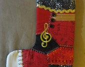 Holiday Music Crazy Quilt Stocking OOAK