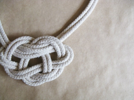 Knot Rope Necklace - Natural Unbleached Cotton and Gold Plate