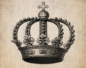 Antique Heraldry Crown Royalty King Queen Prince Princess Illustration  Digital Download for Papercrafts, Transfer, Pillows, etc No 1393