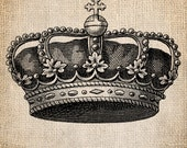 Antique Crown Royalty King Queen Prince Princess Illustration  Digital Download for Papercrafts, Transfer, Pillows, etc Burlap No 1379