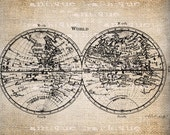 AntiqueWorld Map Astronomy Illustration  Digital Download for Papercrafts, Transfer, Pillows, etc No. 1503