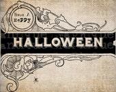 Antique Spooky Halloween Sign Spider Webs Digital Download for Papercrafts, Transfer, Pillows, etc Burlap No 3081