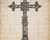 Antique Cross Christian Symbol Christ Ornate Fancy Illustration Digital Download for Papercrafts, Transfer, Pillows, etc. Burlap No 3333