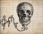 Antique Skull Skeleton on Light Sconce Halloween Illustration Digital Download for Papercrafts, Transfer, Pillows, etc Burlap No 3459