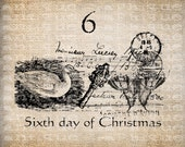 Antique Twelve Days of Christmas Sixth Geese Laying Postmarks Key Music Digital Download for Transfer, Pillows, etc Burlap No. 3397