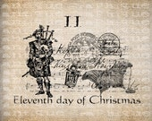 Antique Twelve Days of Christmas Eleventh Pipers Piping Postmarks Music Digital Download for Transfer, Pillows, etc Burlap No. 3407
