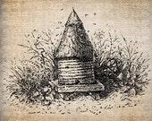 Antique Bee Skep Bee Hive Digital Download for Tea Towels, Papercrafts, Transfer, Pillows, etc Burlap No. 6111