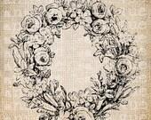 Antique Blank Fancy Ornate Victorian Frame Illustration Digital Download for Tea Towels, Papercrafts, Transfer, Pillows, etc Burlap No 6335
