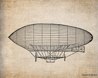 Antique Dirgible Balloon Illustration Digital Download for Papercrafts, Transfer, Pillows, etc Burlap No 1723