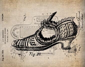 Antique Victorian Shoe Illustration Old Writing  Digital Download for Papercrafts, Transfer, Pillows, etc Burlap No. 1689