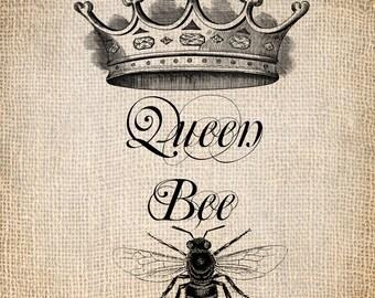 Antique Queen Bee Crown Script Illustration Digital Download for Papercrafts, Transfer, Pillows, etc. Burlap No 1243