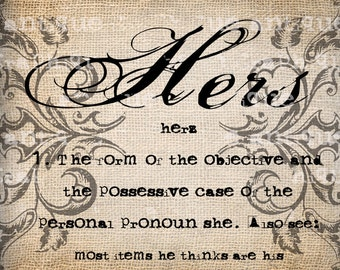 Antique Hers Woman Definition Scroll Ornate Typewriter Digital Download for Papercrafts, Transfer, Pillows, etc Burlap No 1915