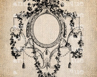 French Illustration Ornate Script Frame Cafe Digital Download for Papercrafts, Transfer, Pillows, etc. Burlap No 2007
