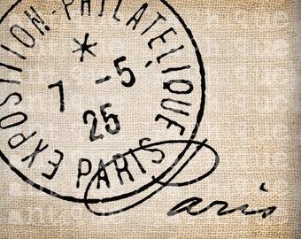 Antique Paris Postmarks Label Script Ornate Illustration Digital Download for Papercrafts, Transfer, Pillows, etc Burlap No 2445