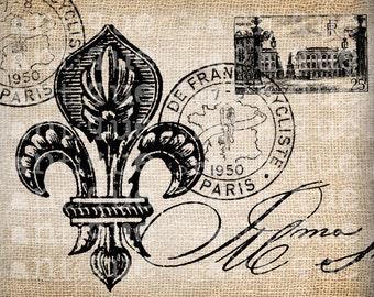 Antique Paris Postmarks Fleur de Lis Script Ornate Illustration Digital Download for Papercrafts, Transfer, Pillows, etc Burlap No 2459