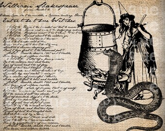Antique Witch Cauldron Snake MacBeth Halloween Illustration Digital Download for Papercrafts, Transfer, Pillows, etc Burlap No 2645