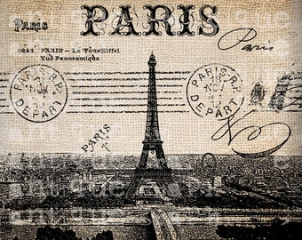 Antique Postcard Fancy French Paris Illustration  Digital Download for Papercrafts, Transfer, Pillows, etc No 2665
