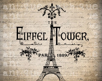 Antique Paris French Eiffel Tower Floral Handwriting Ornate Illustration Digital Download for Papercrafts, Transfer, Pillows Burlap No 2727