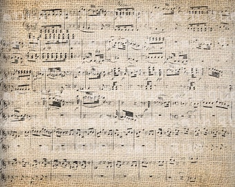 Antique Fancy Mozart Music Distressed Overlay Illustration Digital Download for Papercrafts, Transfer, Pillows, etc Burlap No. 2763
