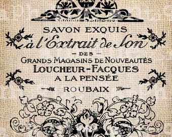 Antique French Paris Vintage Bottle Label Illustration Digital Download for  Papercrafts, Transfer, Pillows Burlap No 2785