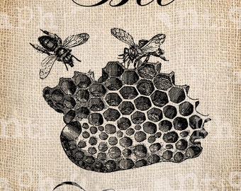 Antique Bee Happy Vintage Bee Hive Digital Download for Tea Towels, Papercrafts, Transfer, Pillows, etc Burlap No. 2797