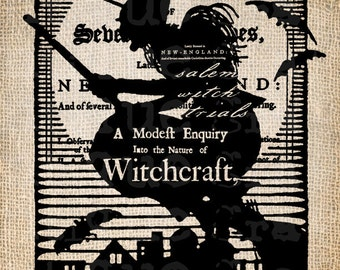 ANtiQue Salem Witch Trial Halloween Script Illustration Digital Download for Papercrafts, Transfer, Pillows, etc No 2915