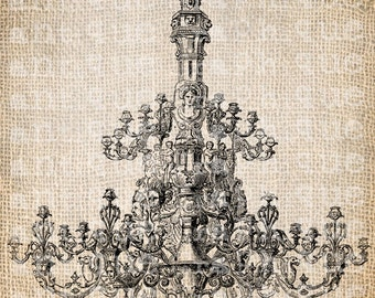Antique French Chandelier Fancy Ornate Illustration Digital Download for Papercrafts, Transfer, Pillows, etc Burlap No 3049