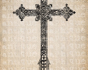Antique Cross Christian Symbol Christ Ornate Fancy Illustration Digital Download for Papercrafts, Transfer, Pillows, etc. Burlap No 3337