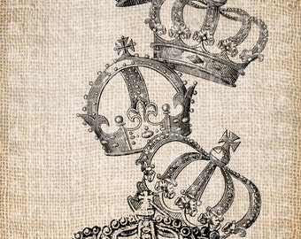 Antique French Royal Stack of Crowns Digital Download for Tea Towels, Papercrafts, Transfer, Pillows, etc Burlap  No 3291