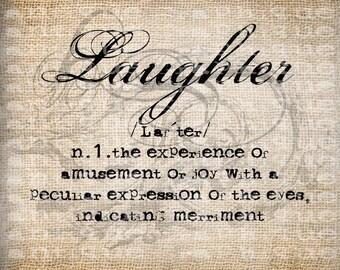 Antique Laughter Definition Scroll Flourish Illustration Digital Download for Papercrafts, Transfer, Pillows, etc Burlap  No 3319
