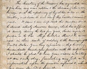 Antique Handwriting English Boston Script  Digital Download for Papercrafts, Transfer, Pillows, etc No. 3477