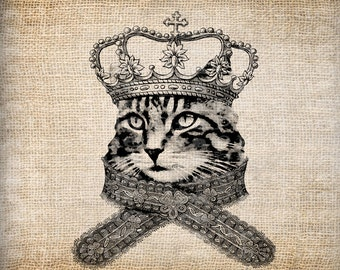 Antique Cat Tabby with Crown Princess Digital Download for Tea Towels, Papercrafts, Transfer, Pillows, etc Burlap No 3565