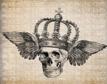 Antique Skull Skeleton Wings Crown Halloween Illustration Digital Download for Papercrafts, Transfer, Pillows, etc Burlap No 3857