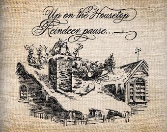 Antique Christmas Housetop Sleigh Ride Santa Ornate Handwriting Digital Download for Papercrafts, Transfer, Pillows, etc Burlap No 6083