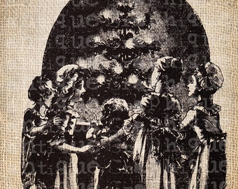 Antique Ornate Holiday Season Christmas Tree Victorian Digital Download for Papercrafts, Transfer, Pillows, etc Burlap No. 5279