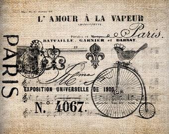 Antique Sign Paris France Bird Music Valentine Love Digital Download for Tea Towels, Papercrafts, Transfer, Pillows, etc No 5651