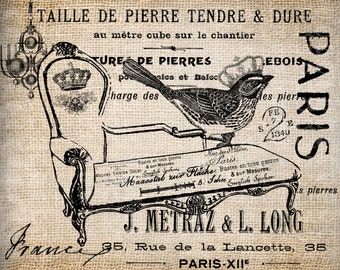 Antique French Paris France Bird Crown Digital Download for Tea Towels, Papercrafts, Transfer, Pillows, etc No 5661