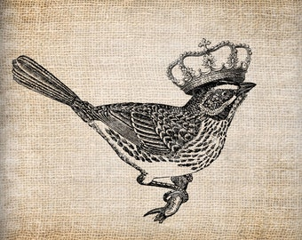 Antique French Paris France Bird Crown  Digital Download for Tea Towels, Papercrafts, Transfer, Pillows, etc No 5665