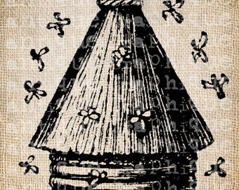 Antique Bee Skep Bee Hive Digital Download for Tea Towels, Papercrafts, Transfer, Pillows, etc Burlap No. 6101