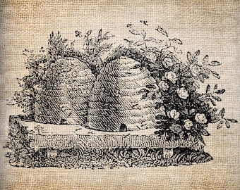 Antique Bee Skep Bee Hive Digital Download for Tea Towels, Papercrafts, Transfer, Pillows, etc Burlap No. 6107