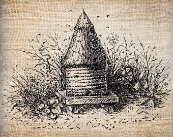 Antique Bee Skep Bee Hive Digital Download for Tea Towels, Papercrafts, Transfer, Pillows, etc Burlap No. 6111