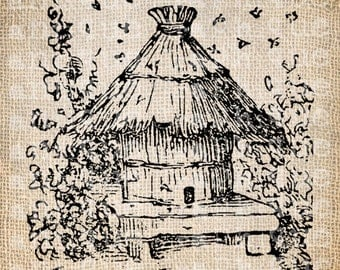 Antique Bee Skep Bee Hive Digital Download for Tea Towels, Papercrafts, Transfer, Pillows, etc Burlap No. 6113