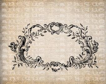 Antique Blank Fancy Ornate Victorian Frame Illustration Digital Download for Tea Towels, Papercrafts, Transfer, Pillows, etc Burlap No 6277